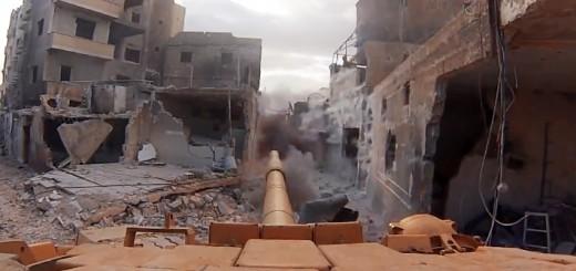 シリア内戦で戦う戦車のGoPro映像