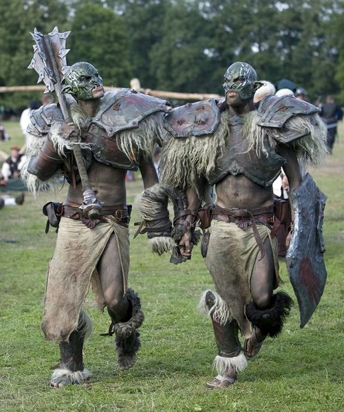 "People in costumes participate in ""Conquest 2010 LARP"" in the northern German village of Brokeloh near Hanover"