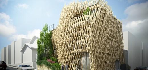 木材が縦横無尽に重なる、南青山の建築物がユニーク過ぎる!