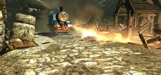『スカイリム』のMODを使ってドラゴンを機関車トーマスにした結果・・・無慈悲な炎で村が焼かれる