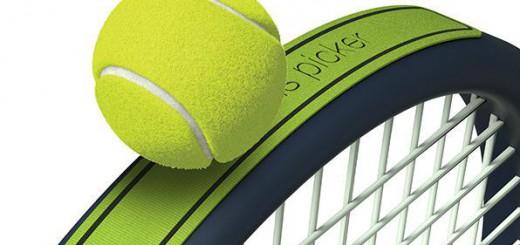超便利!テニスラケットに貼り付けるだけで球拾いが楽になるステッカー