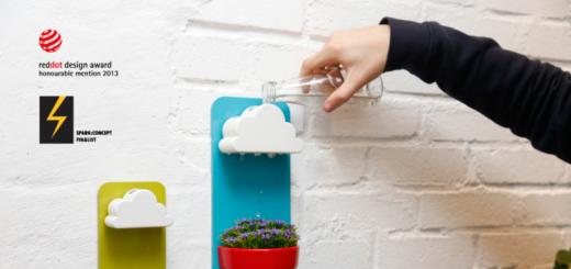 雲からポタポタ雨を降らして水やり!植物にも目にも優しい壁掛けプランター