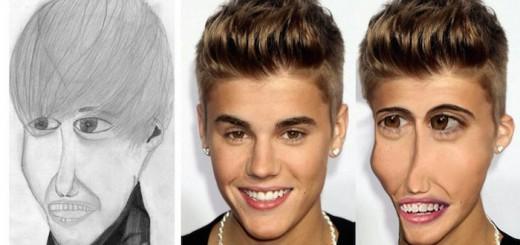 ハリウッドセレブの似顔絵を、そのまま実写化した結果…精神的ブラクラ画像で満載になる