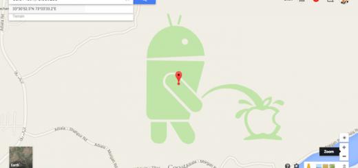 Appleロゴに悪戯中のドロイド君、Google MAP上で見つかる