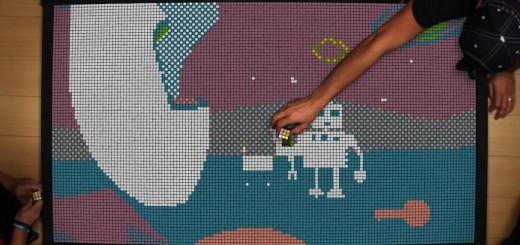 1296個のルービックキューブでストップモーションアニメを制作!ほっこりするドット絵アニメが完成