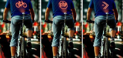 これがあれば夜道の自転車走行も安全!背中に画像を投影してくれる装置