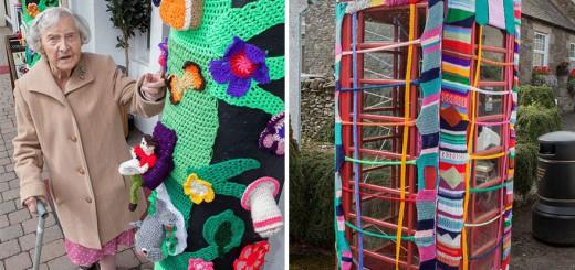 【最高に可愛い】104歳のおばあちゃん、編み物で町中のランドマークを覆う