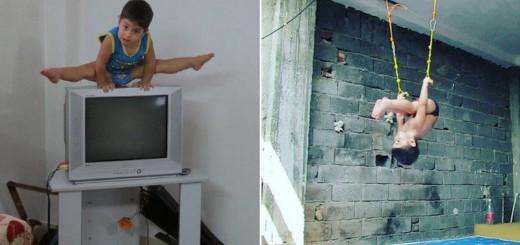 驚くべき身体能力!自宅の家具で筋トレしまくりな2歳児が現る
