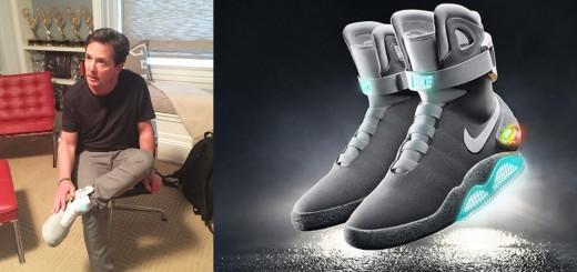 マイケル・J・フォックス『バック・トゥ・ザ・フューチャー2』で登場する例のスニーカーを装着