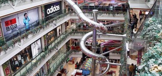 【恐怖の階移動】上海のショッピングモール、5階建て滑り台を設置