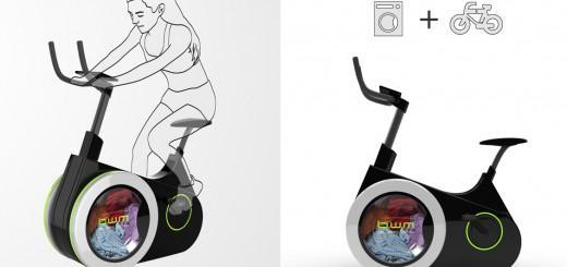 まさかの洗濯機が合体!節電にも役立つエアロバイク