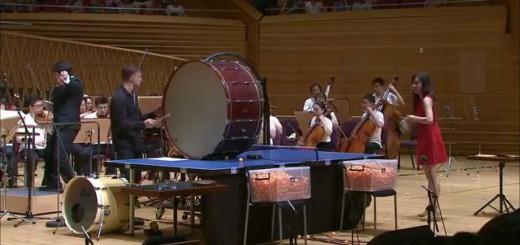世にも奇妙なオーケストラ!卓球選手がピンポンで演奏参加