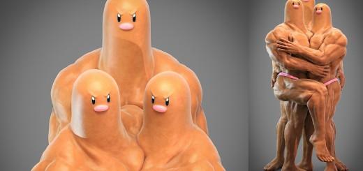 ポケモン「ダグトリオ」の地中部分は…ガチムチ過ぎる妄想CGが話題