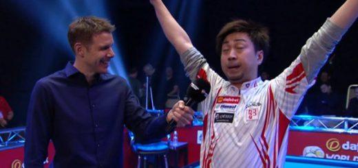 英語が話せない日本人ビリヤード選手のインタビューでの爆笑動画
