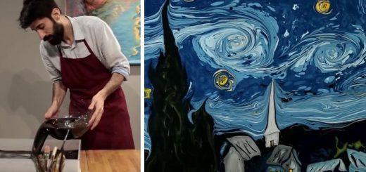 ゴッホの名画を再現!水にインクを落としながら描く魔法のようなアート
