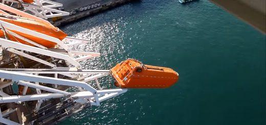 高所から真っ逆さま!自由落下式救命艇の玉ヒュンな訓練動画