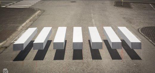 思わずブレーキを踏んじゃう!?3Dに浮かび上がって見えるアイスランドの横断歩道