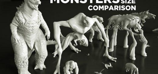 怪獣やモンスターを一列に並ばせると…サイズ感を比較した動画
