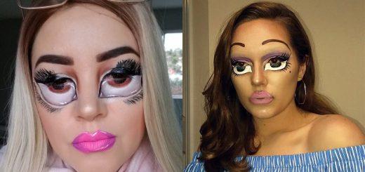 笑わせにきてる!?海外Instagramで人形をまねして顔に目を描くメイクが流行
