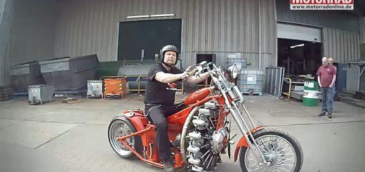 航空機用の星型9気筒エンジンを搭載!3600ccで150馬力のバイクが話題