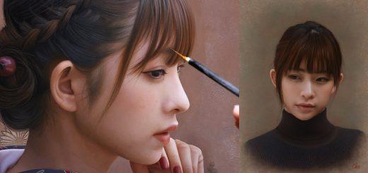 まるで写真!?画家の岡靖知さんが描く美女の人物画が恐ろしく写実的