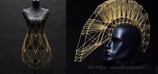 幾何学的で美しい!スパゲッティで独創的なドレスをデザインした猛者現る