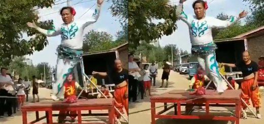 【爆笑動画】中国雑技団の入団テストを受けた新入りおばさんの動きが面白すぎ