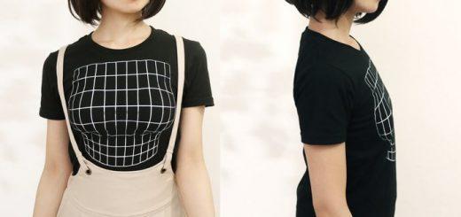 正面を向いた時だけ胸元がふくらむ!?「妄想マッピングTシャツ」新作発売