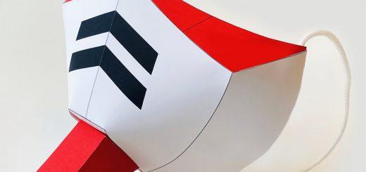 ガンダムファン歓喜!DL可能なペーパークラフト型マスク「連邦の白いマスク」現る