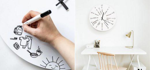 文字盤がホワイトボード!書き込み放題な壁掛け時計がオシャレで便利そう