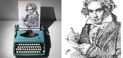 レトロなアスキーアート!?タイプライターで文字を打ち付け絵を描く職人現る