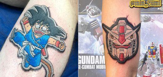 パッチワークにしか見えないタトゥーが海外で人気!アニメとの親和性も抜群
