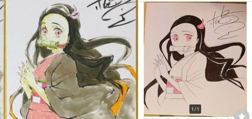 【衝撃】ヤフオク!に人気漫画家の偽サイン色紙を出品し続ける不届き者の絵が下手すぎ